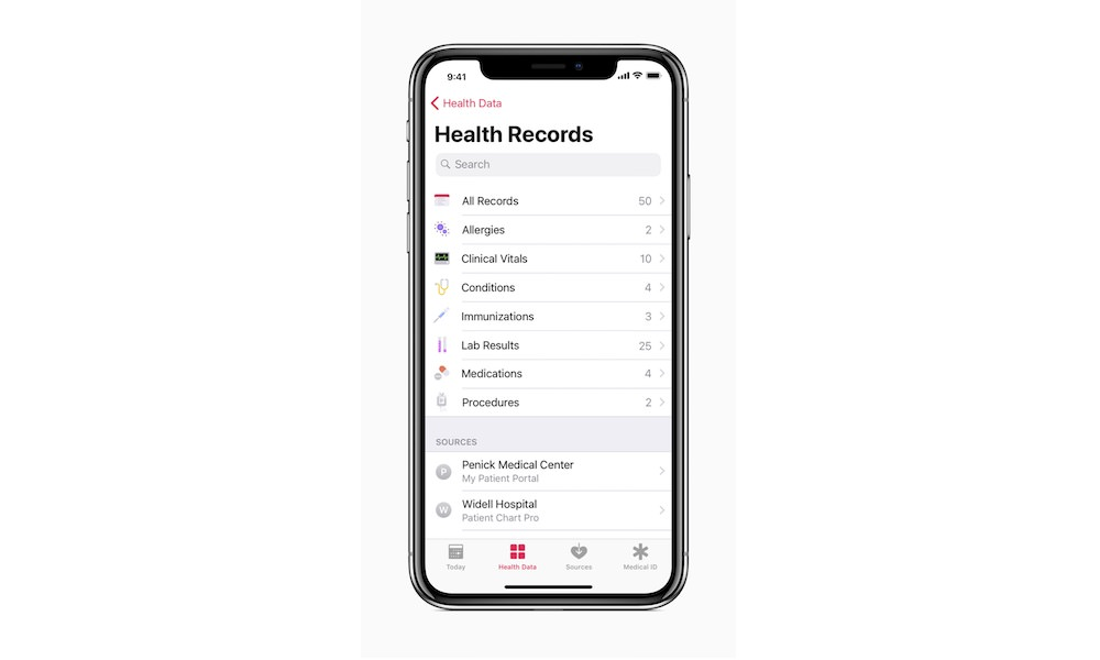 Apple Health Records App - Home Screen