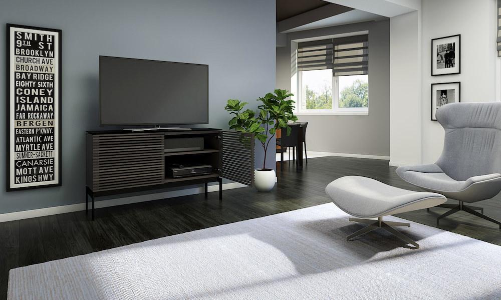 BDI Corridor SV console 7128 Charcoal storage credenza lifestyle