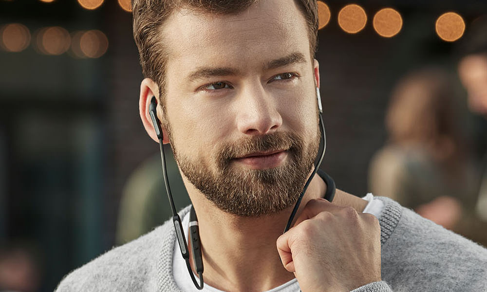 Jabra Elite 65e Bluetooth Wireless ANC Headset on Man