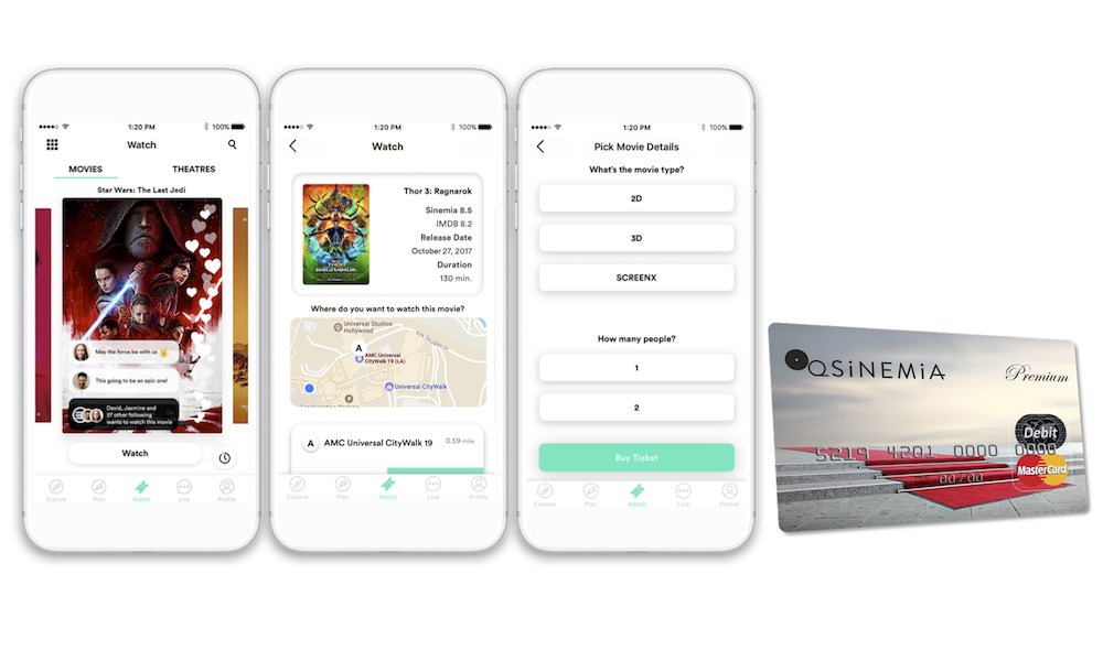 Sinemia movie ticket subscription service app screenshots