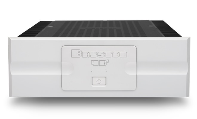 Bryston 4B3 Stereo Power Amplifier in white, front view