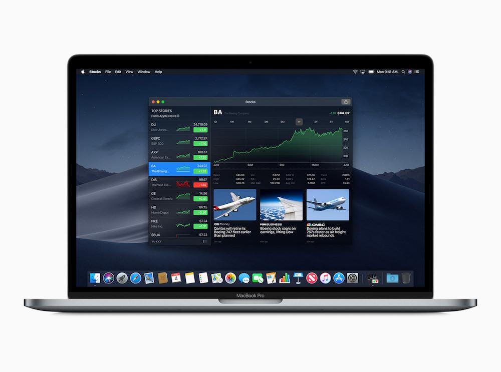 Apple macOS Mojave Home screen