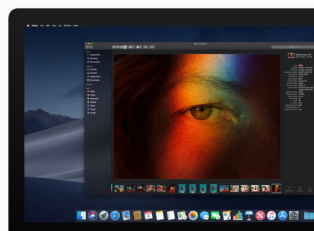 Apple macOS Mojave Stacks Finder screen