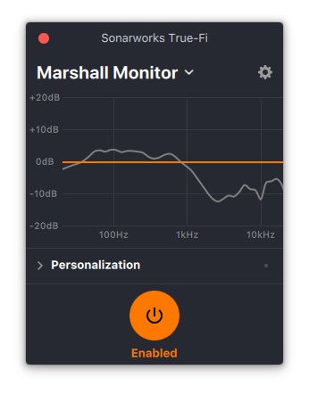 Sonarworks True-Fi Frequency Response with Marshall Monitor (standard)