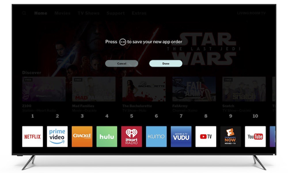 Vizio TV SmartCast Home Sorting Feature