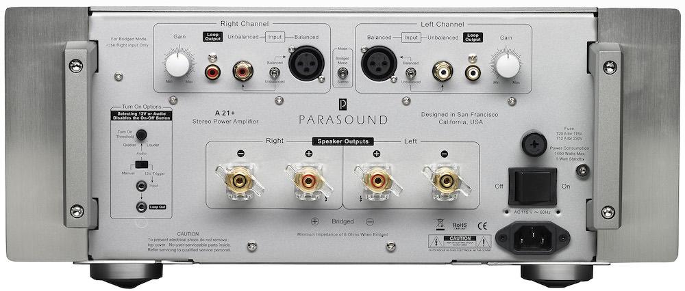 Parasound Halo A 21+ Stereo Amplifier Back (2019)