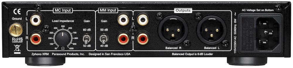 Parasound Zphono XRM Phono Preamplifier Rear