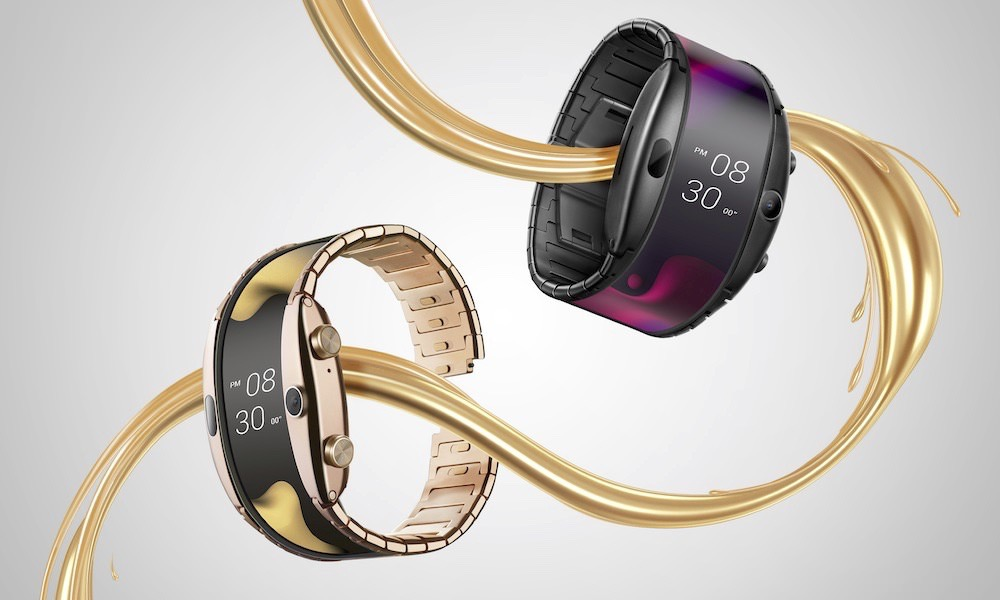 Nubia Alpha flexible smartwatch and phone in gold and black