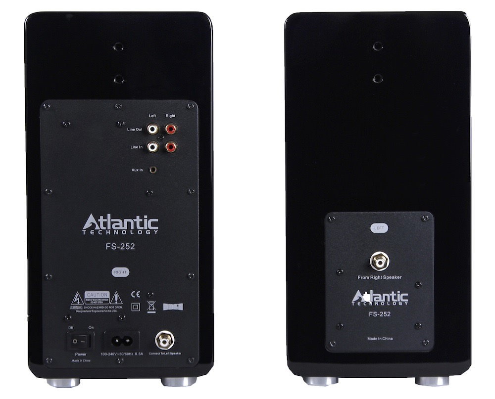Atlantic Technology FS-252 Wireless Active Bookshelf Speakers Back View