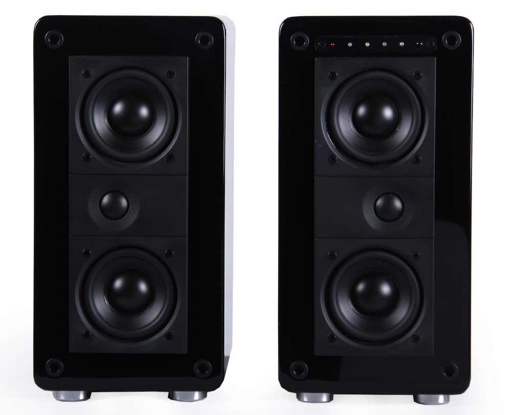 Atlantic Technology FS-252 Wireless Active Bookshelf Speakers Front View