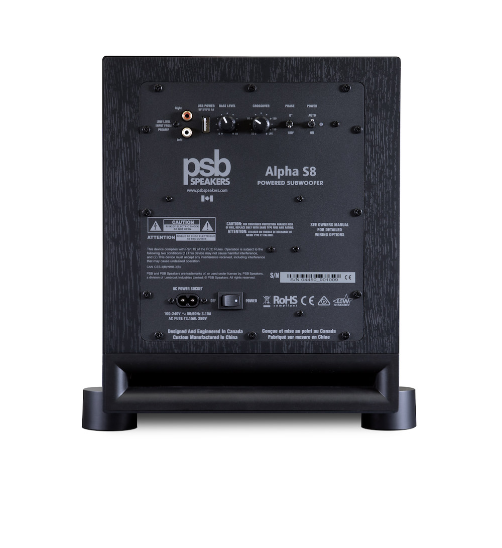 PSB Alpha S8 Powered Subwoofer Rear View