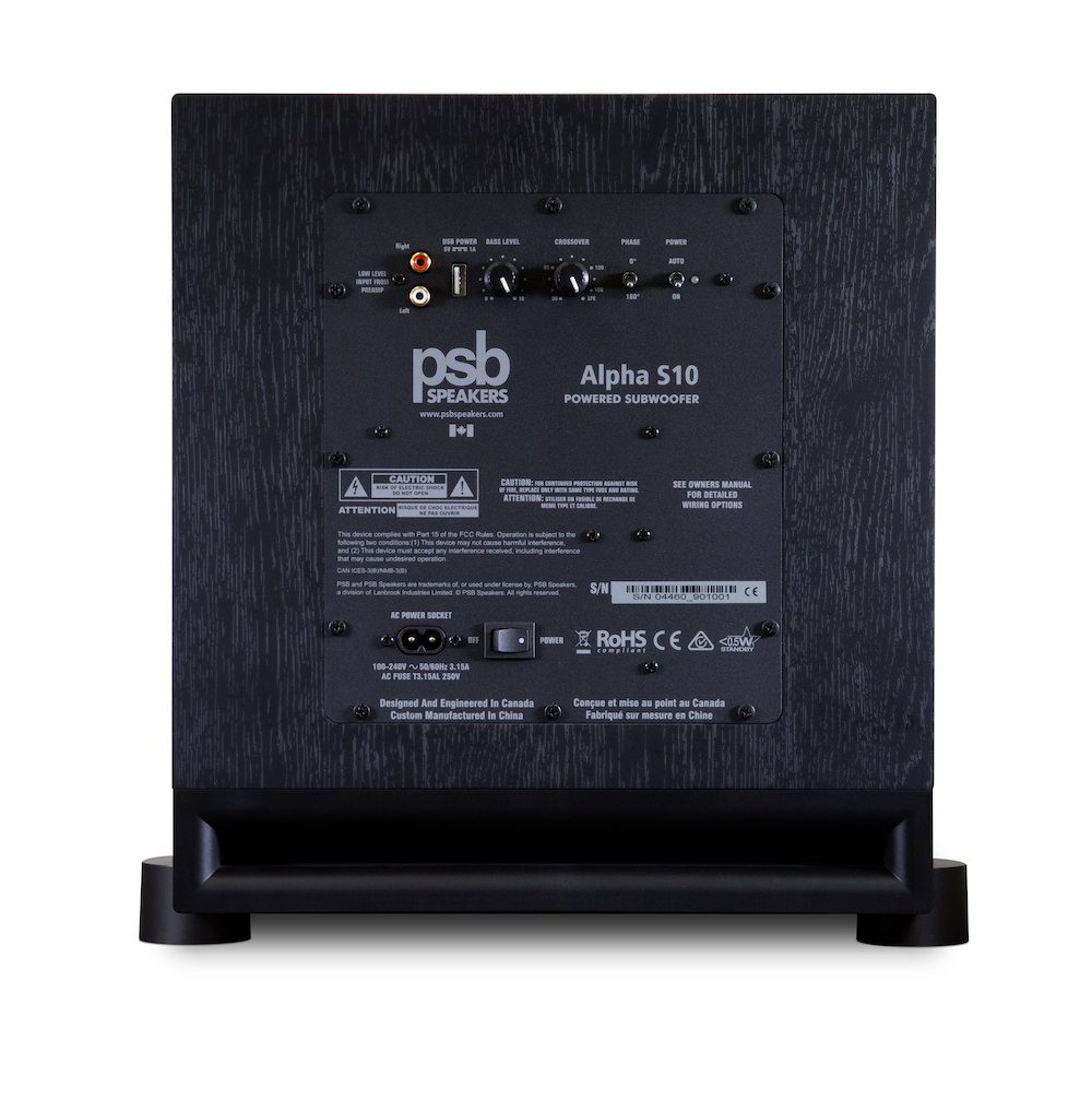 PSB Alpha S10 Powered Subwoofer Rear View