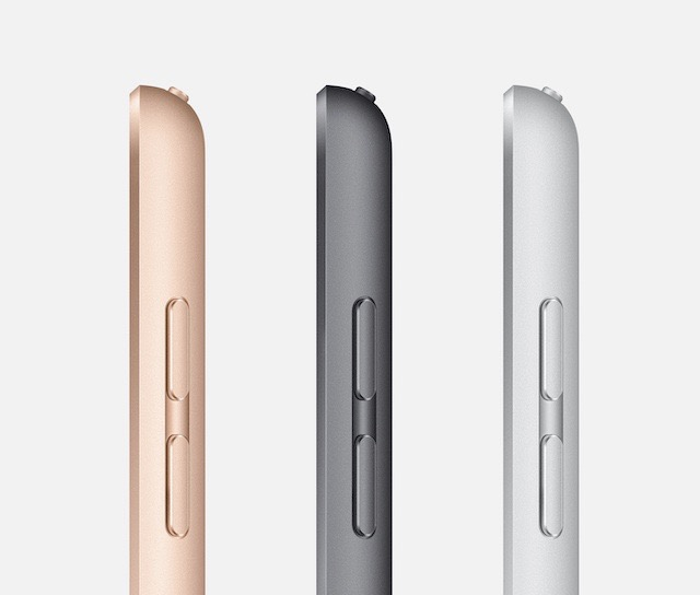 Apple iPad 10.2-inch 7th generation side view in gold, space gray and silver