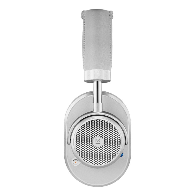Master & Dynamic MW65 Wireless Over-Ear Headphones Side View in Silver Metal / Grey Leather