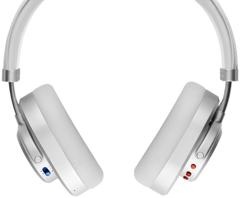 Master & Dynamic MW65 Wireless Over-Ear Headphones Back View in Silver Metal / Grey Leather