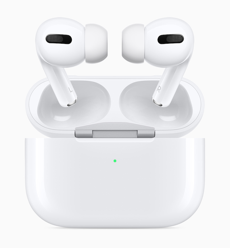 Apple AirPods above charging case
