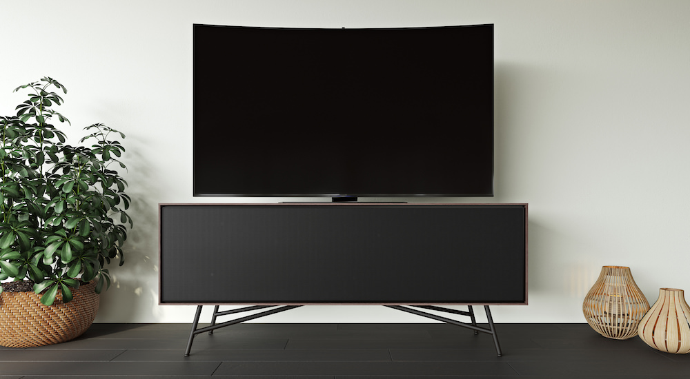 BDI Sector 7527 Media Console Front with Curved TV (Sepia)