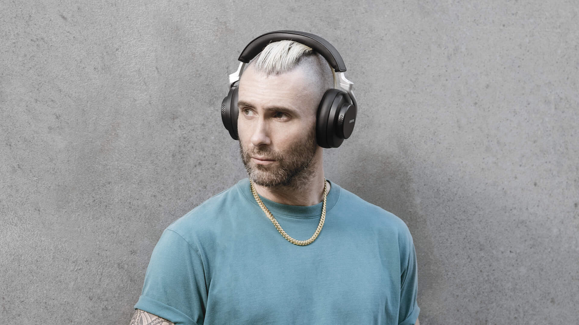 Adam Levine Wearing Shure AONIC 50 Wireless Noise Cancelling Headphones