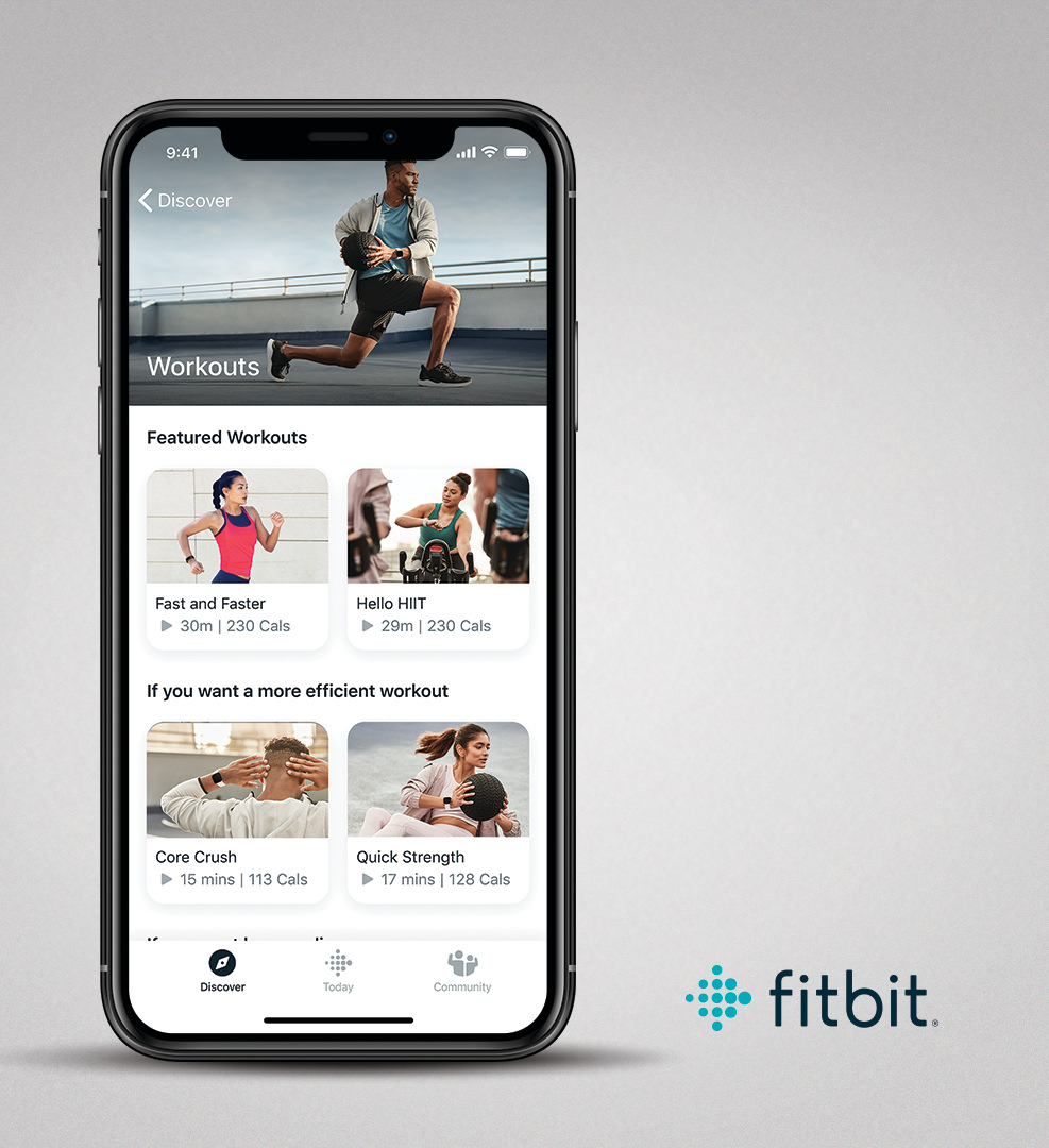 Fitbit Premium on iOS, showing Workouts