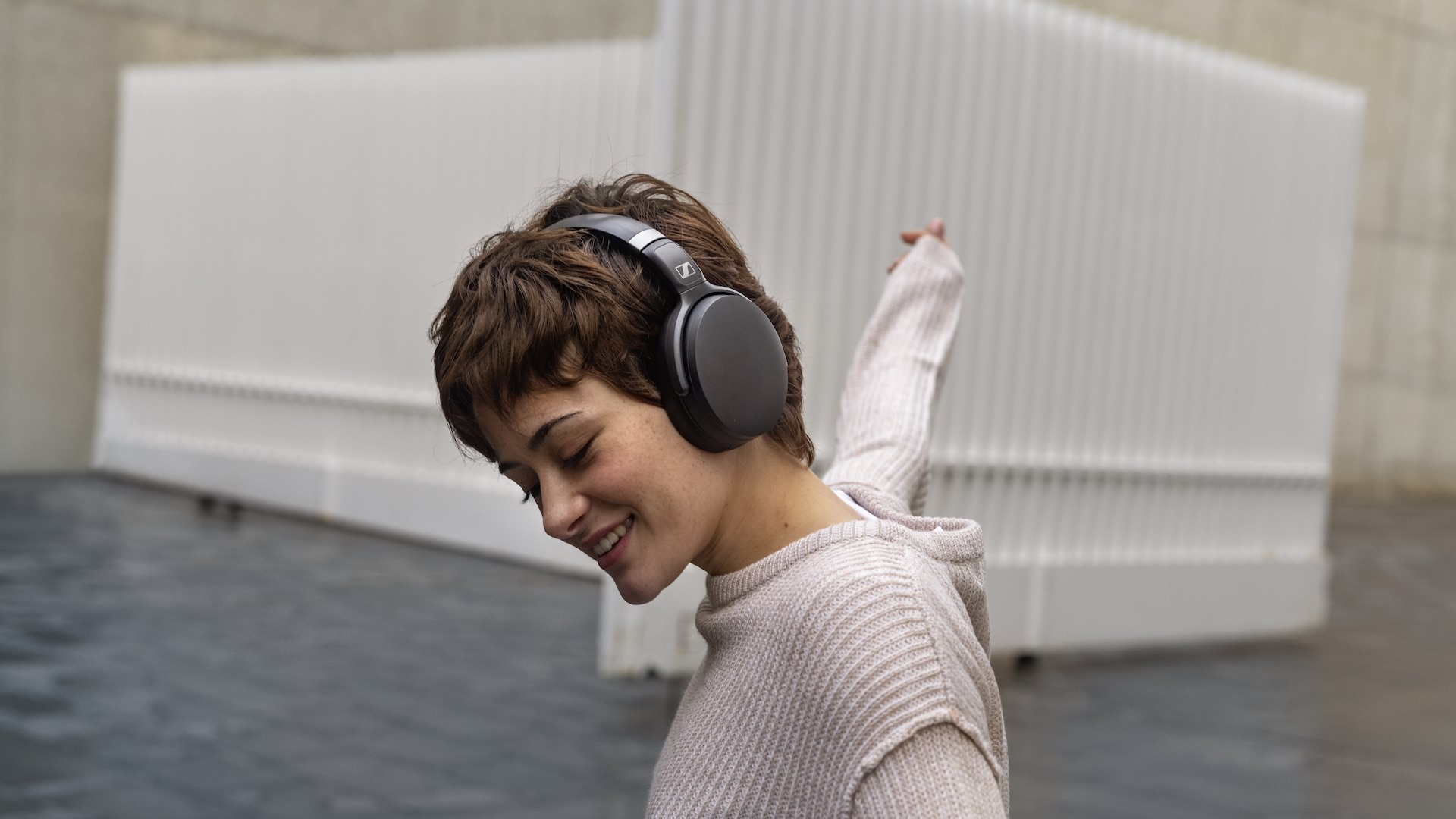 Woman Wearing Sennheiser HD 450BT Headphones