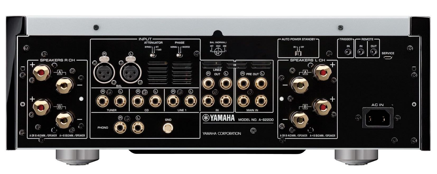 Yamaha A-S2200 Integrated Amplifier Rear View