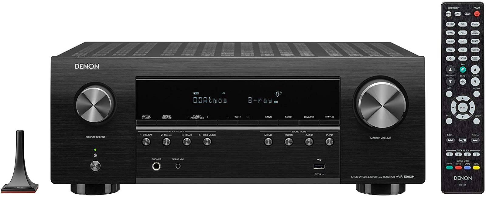 Denon AVR-S960H 8K A/V Receiver Front View with Remote Control