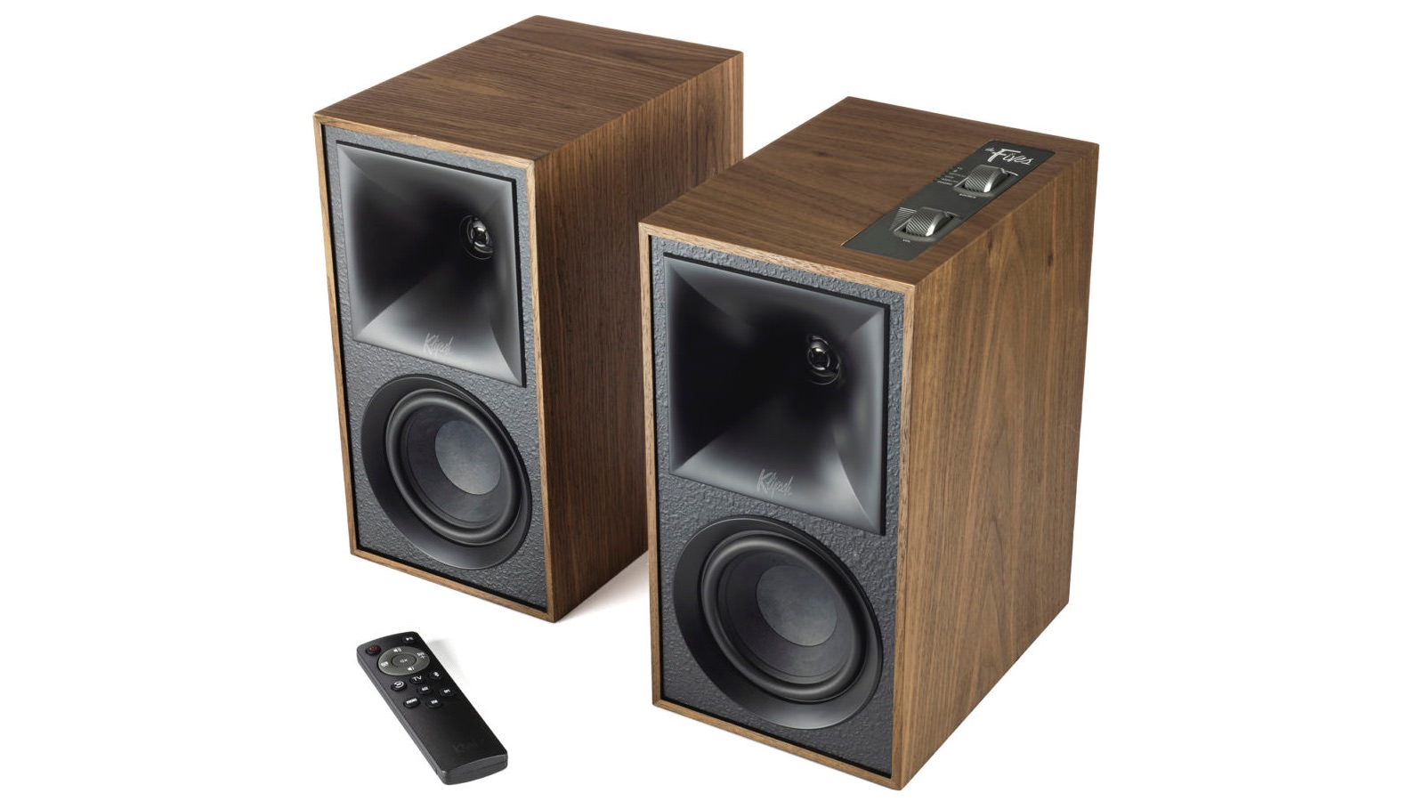 Klipsch The Fives Powered Speakers (Grilles off in walnut)