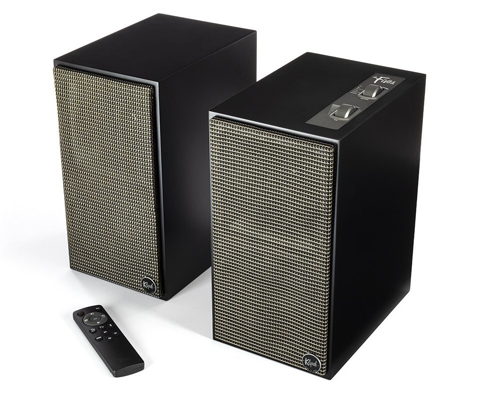 Klipsch The Fives Powered Speakers (Grilles on in Matte Black)