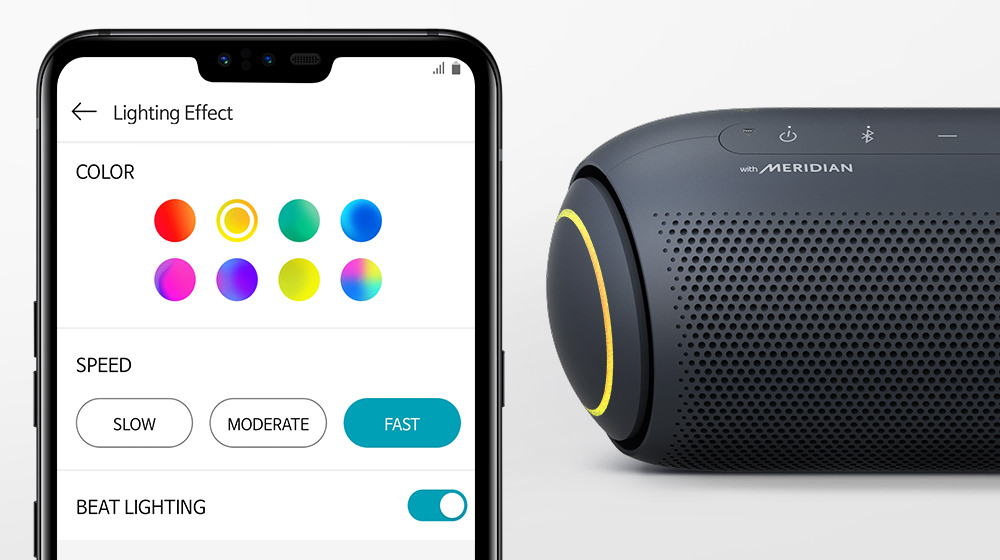 LG XBOOM Go PL7 with App changes lighting options