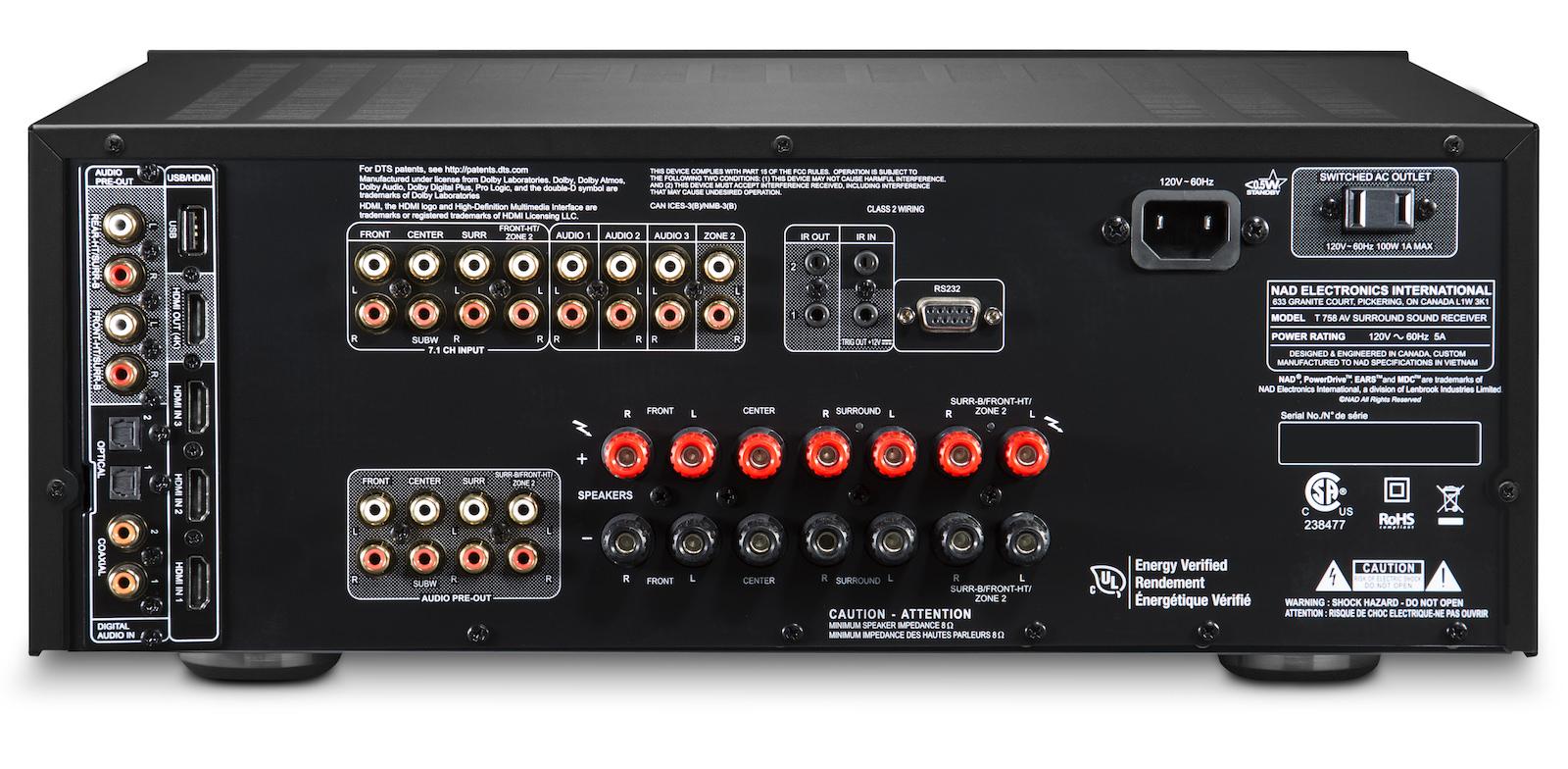 NAD T 758 V3i A/V Receiver Back