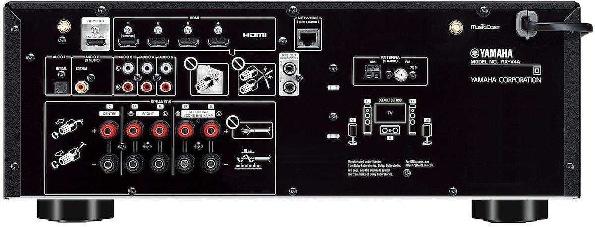 Yamaha RX-V4A 8K A/V Receiver Rear View
