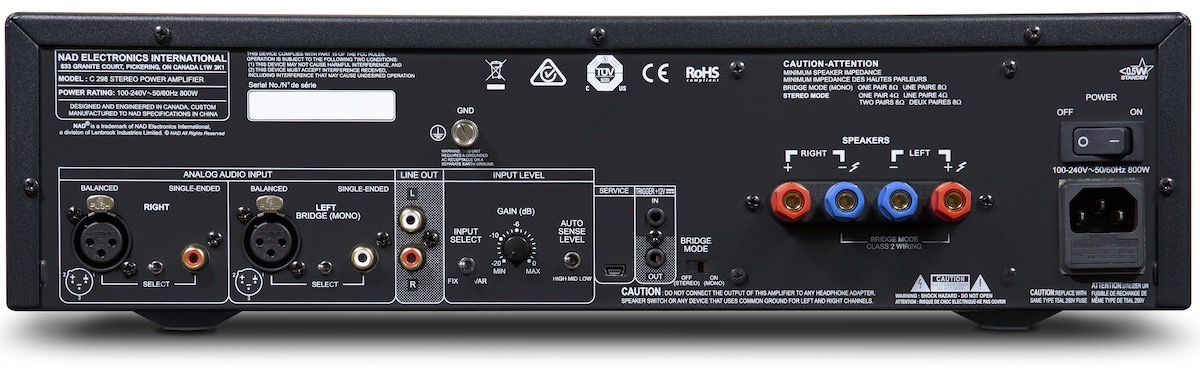 NAD C 298 Two-Channel Amplifier Rear View
