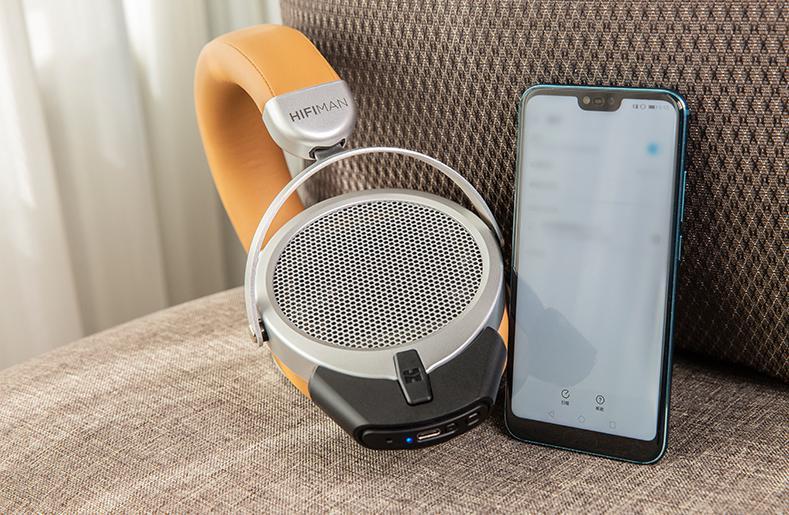 HiFiMan Deva Headphones with Bluetooth Mini Adapter and Smartphone