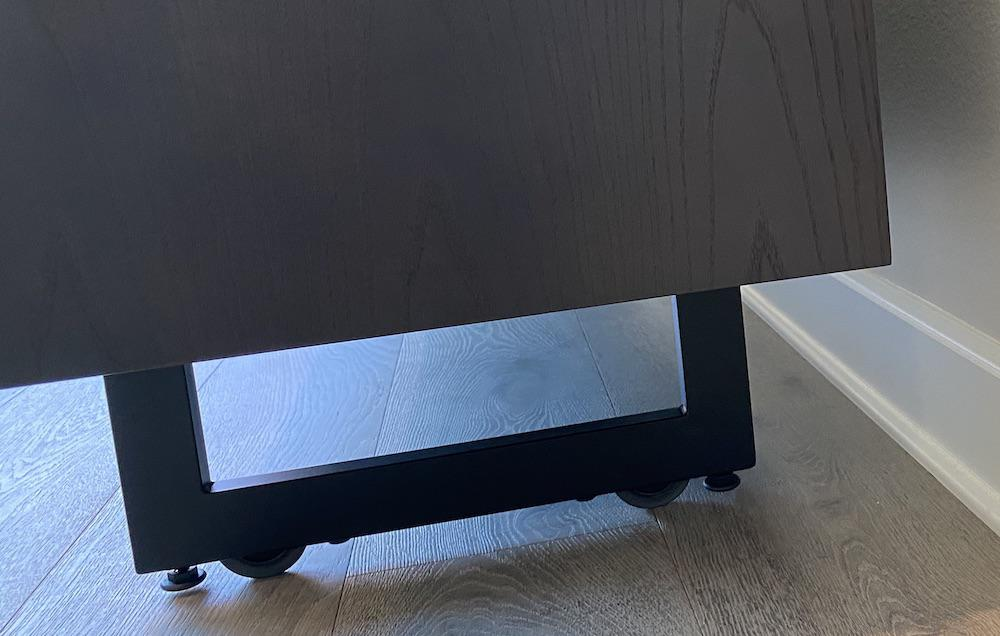 BDI Elements 8779 Wheat Charcoal Media Console Rollable Base on Wheels