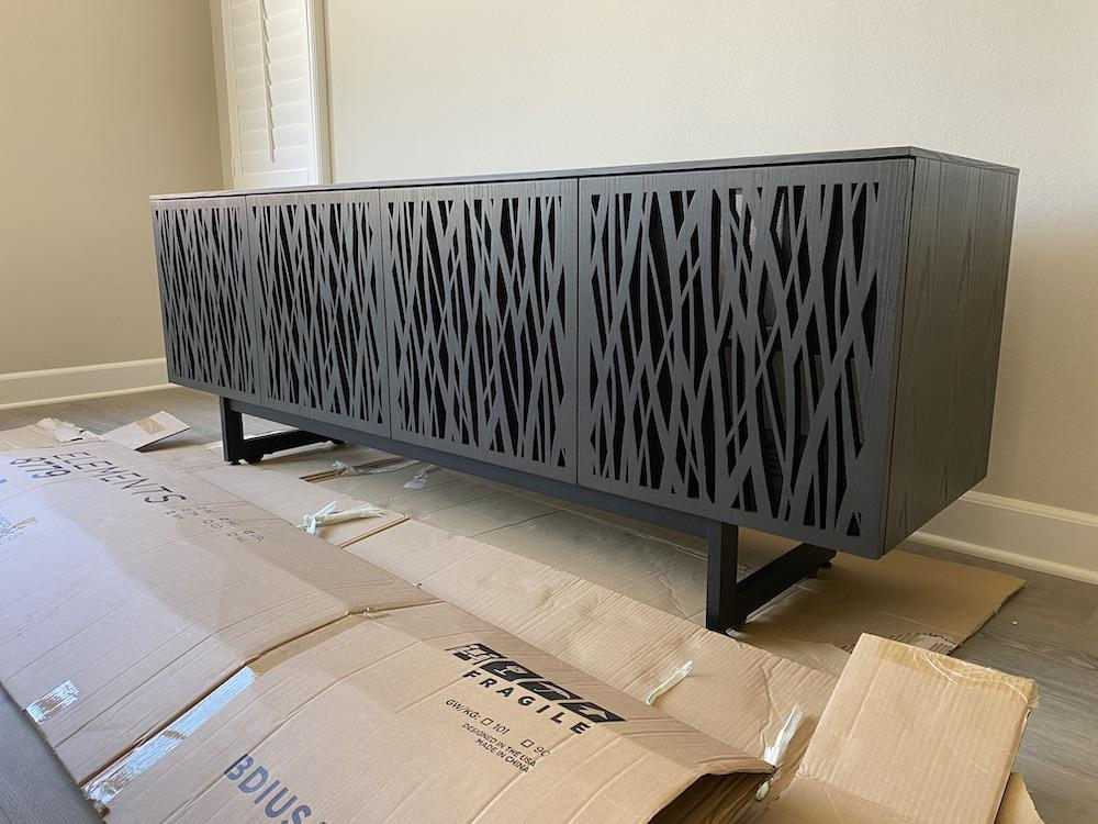 BDI Elements 8779 Wheat Charcoal Media Console Put Together
