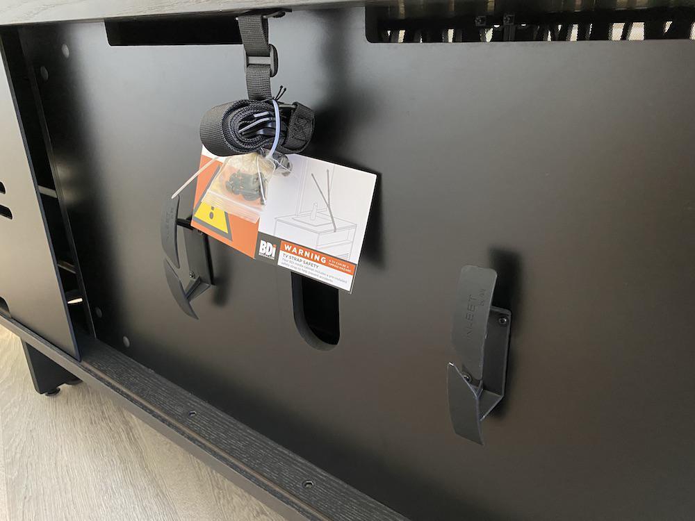 BDI Elements 8779 Wheat Charcoal Media Console Rear TV Strap