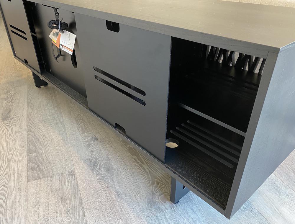 BDI Elements 8779 Wheat Charcoal Media Console Slidable Rear Doors