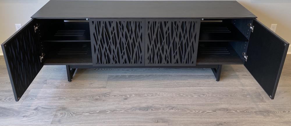 BDI Elements 8779 Wheat Charcoal Media Console Outer Doors Open