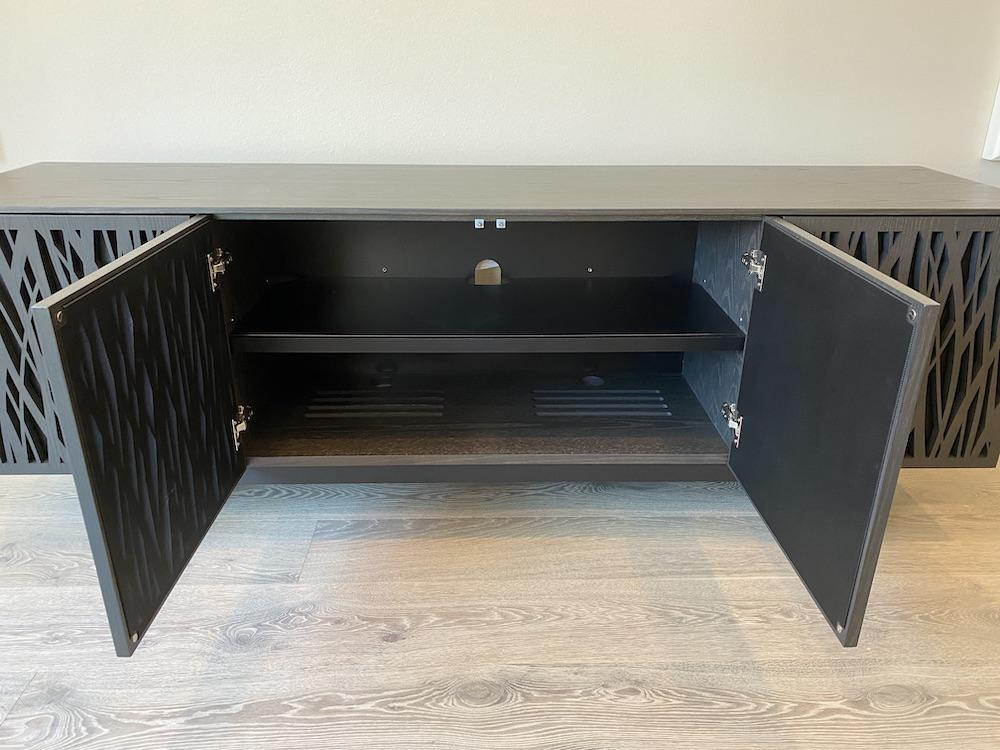 BDI Elements 8779 Wheat Charcoal Media Console Center Doors Open Outwards