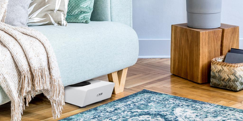 Bluesound Pulse SUB+ Wireless Subwoofer (White) Under Couch