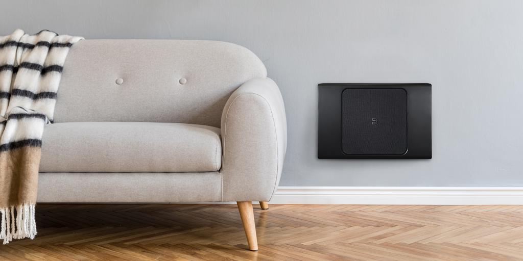Bluesound Pulse SUB+ Wireless Subwoofer (Black) Hung on Wall