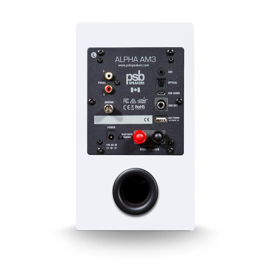 PSB Alpha AM3 Powered Speakers Rear in White