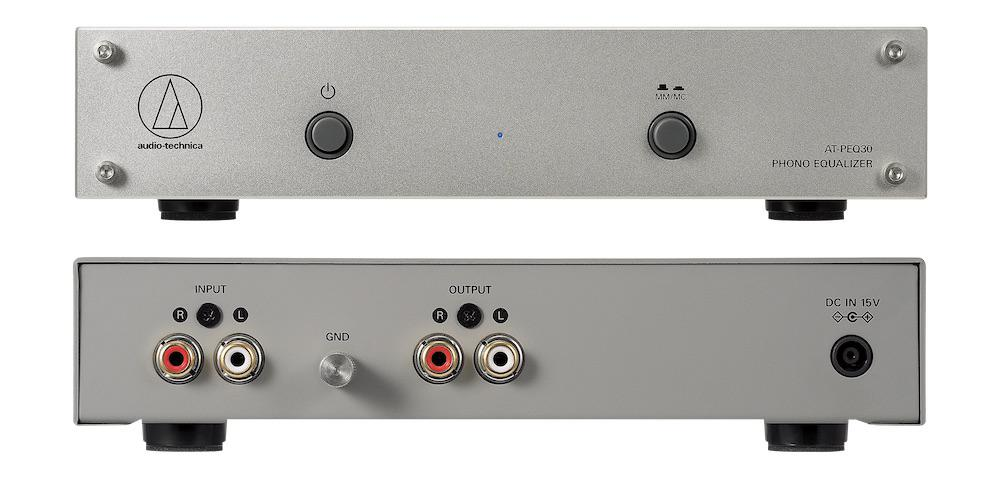 Audio-Technica AT-PEQ30 Phono Equalizer Front and Back Views