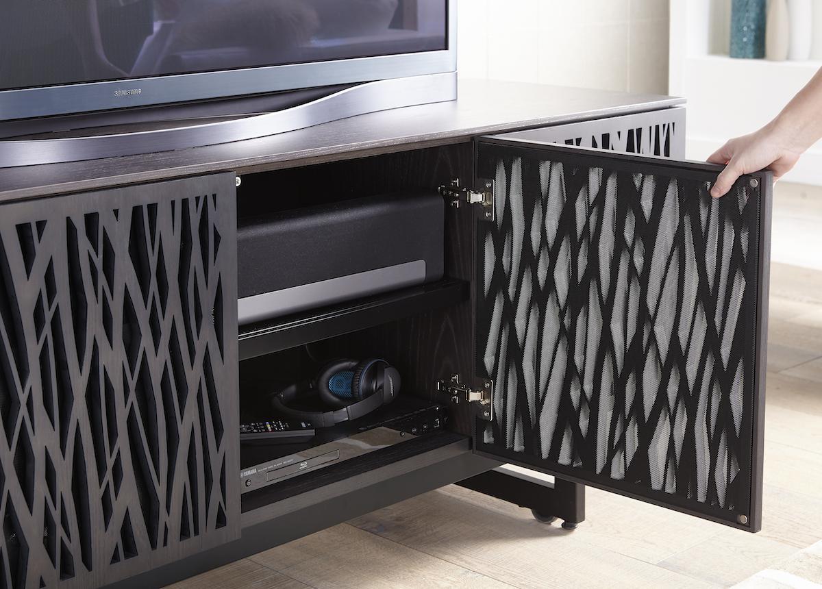 BDI Elements 8779 Media Cabinet perforated door detail