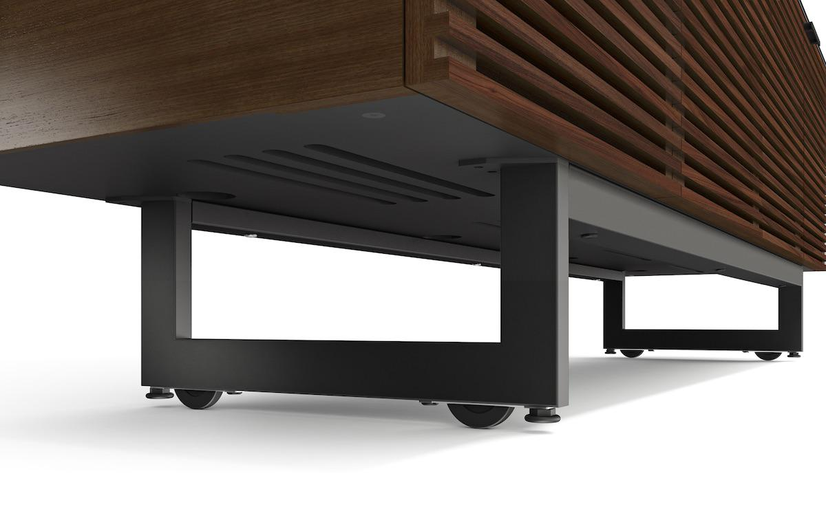 BDI Corridor 8179 Modern TV Console Hidden Wheels and Feet Levelers Chocolate Walnut Finish