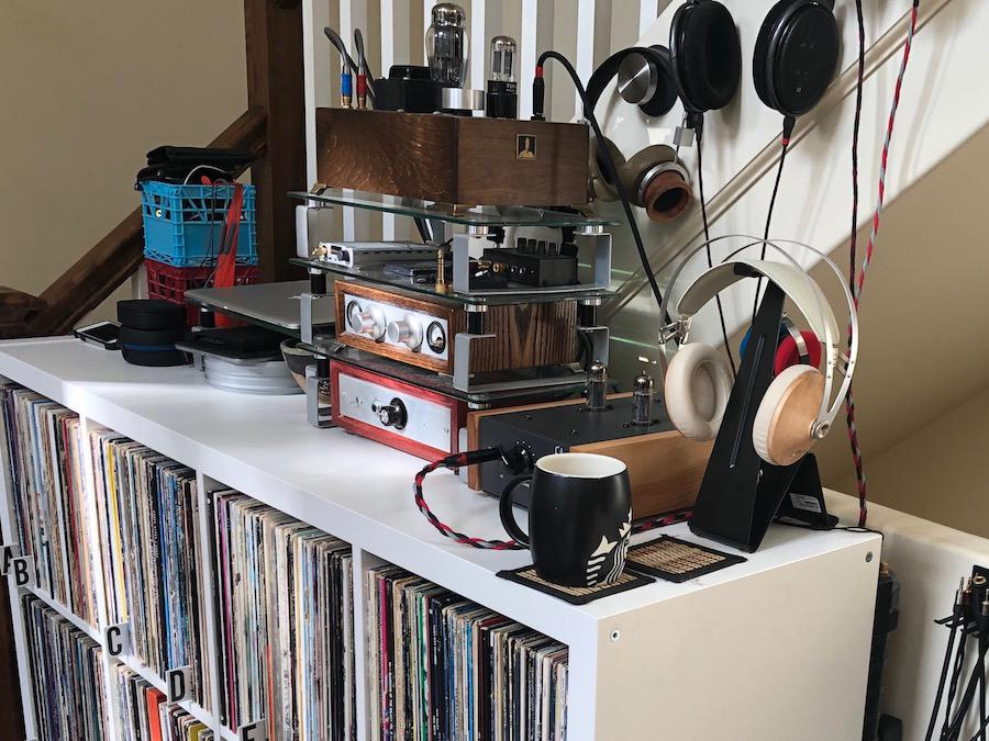 Large Selection of Audiophile Headphones on a Console