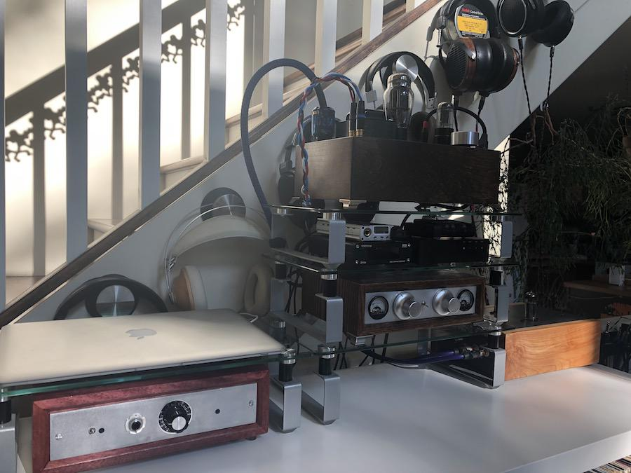 Large Selection of Audiophile Amplifiers, DACs and Headphones on Rack