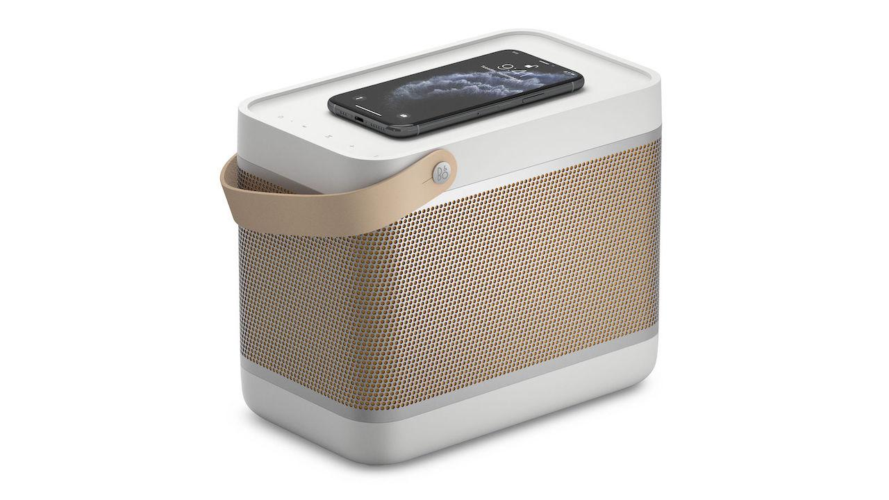 Bang & Olufsen Beolit 20 portable Bluetooth Speaker Charging iPhone in Grey Mist