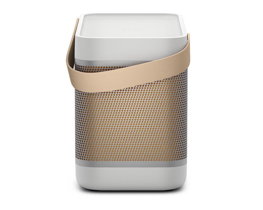 Bang & Olufsen Beolit 20 portable Bluetooth Speaker Side view in Grey Mist
