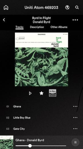 Naim Uniti Atom App Screen Tracks